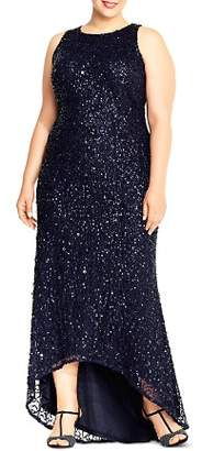 Adrianna Papell Plus Sequined High/Low Gown