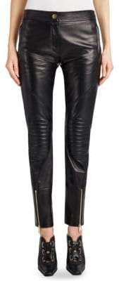 Versace Zip-Detail Moto Leather Leggings