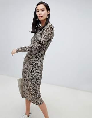 Glamorous long sleeved midi dress in leopard