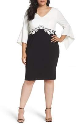 Sangria Bell Sleeve Sheath Dress