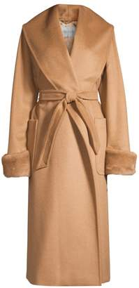 Max Mara Christy Mink Fur-Trim Camel Wool Wrap Coat