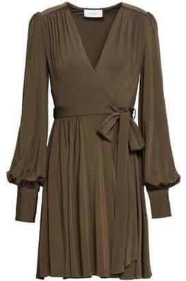 Zimmermann Gathered Jersey Mini Wrap Dress