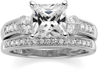 FINE JEWELRY DiamonArt Princess-Cut Cubic Zirconia Sterling Silver Bridal Ring Set $406.23 thestylecure.com