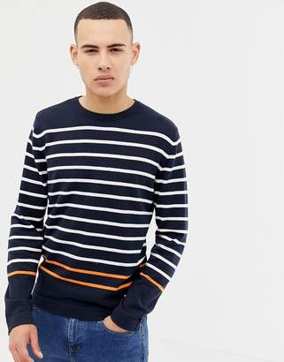 Jack and Jones Core knitted sweater with multi stripe