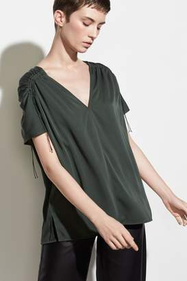 Vince Shirred Sleeve Blouse