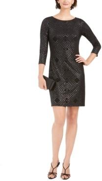 Jessica Howard Metallic-Print Jersey Sheath Dress