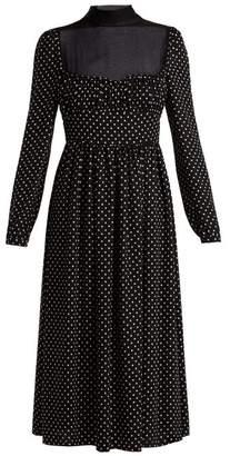 Valentino Polka Dot Print Silk Dress - Womens - Black White
