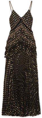 Self-Portrait Cutout Lace-trimmed Pleated Metallic Fil Coupé Chiffon Maxi Dress - Black