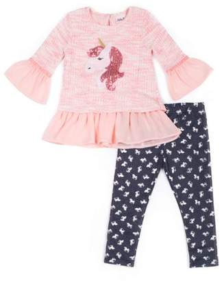 Little Lass Bell Sleeve Chiffon Layered Sweater & Printed Knit Denim Jeans, 2-Piece Outfit Set (Baby Girls & Toddler Girls)