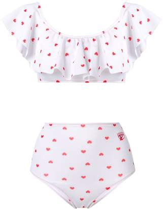 Chiara Ferragni Heart print frill bikini set