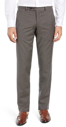 Ted Baker Jerome Flat Front Solid Wool Trousers