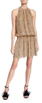 Ramy Brook Paris Leopard-Print Silk Sleeveless Short Dress
