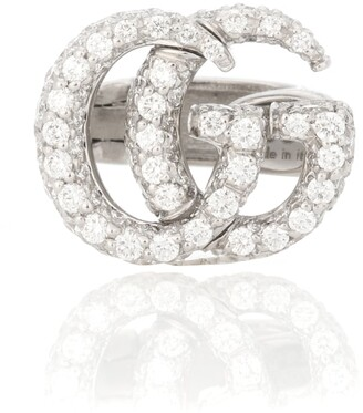 59353f8ee Gucci Double G 18kt gold and diamond ear cuff