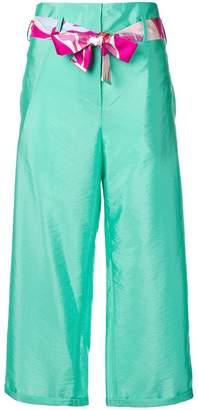 Emilio Pucci Aqua Habotai Silk Belt Trousers
