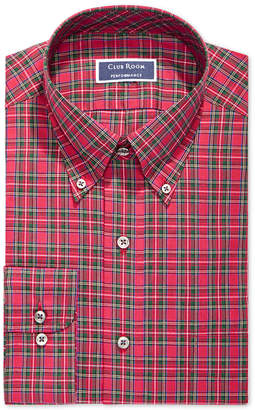 Club Room Men's Slim Fit Stretch Stewart Tartan Dress Shirt, Created for Macy's