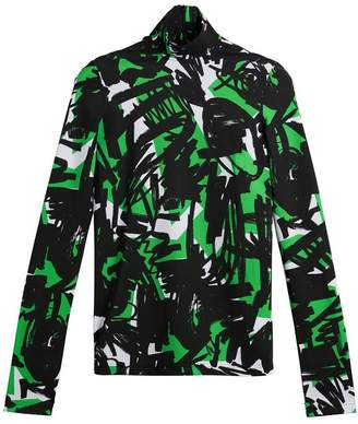 Burberry Graffiti Print Stretch Jersey Top