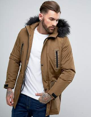 Asos Parka Jacket with Faux Fur Trim in Tobacco