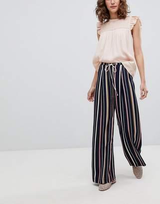Suncoo Wide Leg Striped Pants