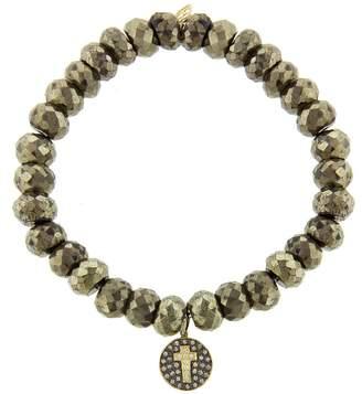Sydney Evan Diamond Cross Disc Charm on Pyrite Beaded Bracelet