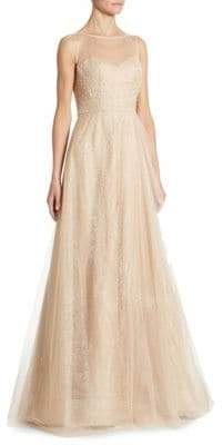 Illusion Beaded Tulle Gown