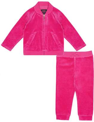 Juicy Couture Velour Floral Mirror Cameo Bomber Set for Baby