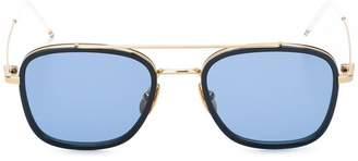 Thom Browne Eyewear Navy & 18k Gold Sunglasses