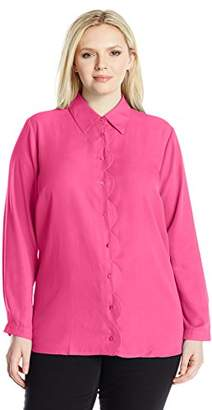 NY Collection Women's Plus Size Solid Long Sleeve Button Down Scallop Placket Blouse
