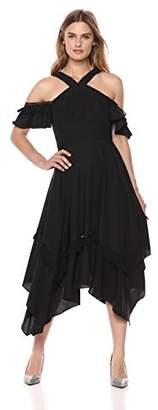 BCBGMAXAZRIA Women's Cold Shoulder Handkerchief Dress