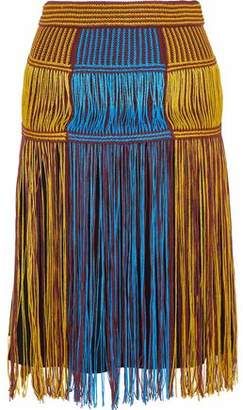 M Missoni Fringed Color-block Crochet-knit Skirt