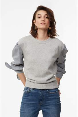 Rebecca Taylor La Vie Striped Sleeve Fleece Pullover