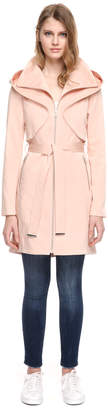 Soia & Kyo ARABELLA mid-length stretch cotton coat with hood and belt