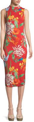 Alice + Olivia Delora Mock-Neck Fitted Sleeveless Sheath Dress