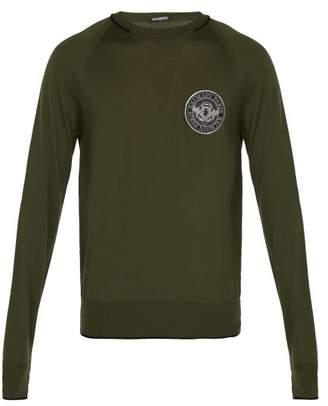 Balmain Logo Patch Wool Sweater - Mens - Green
