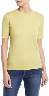 Escada Crewneck Short-Sleeve Sponge-Cashmere Top