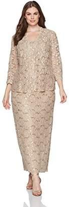 Alex Evenings Women's Plus Size 2 Piece Lace Jacket Evening Dress