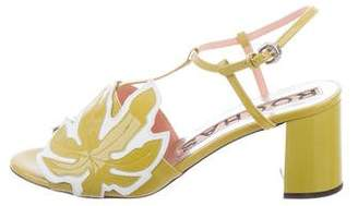 Rochas Patent Leather T-Strap Sandals