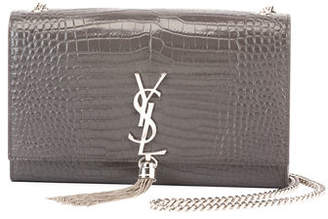 Saint Laurent Kate Monogram Medium Crocodile-Embossed Tassel Shoulder Bag