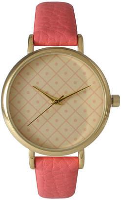OLIVIA PRATT Olivia Pratt Womens Checkered Dial Coral Petite Leather Watch 14543