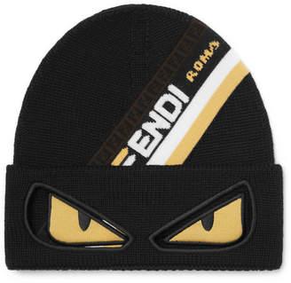 at Mr Porter · Fendi Bag Bugs Logo-Jacquard Wool Beanie - Men - Black 2a8e5fd0a3a