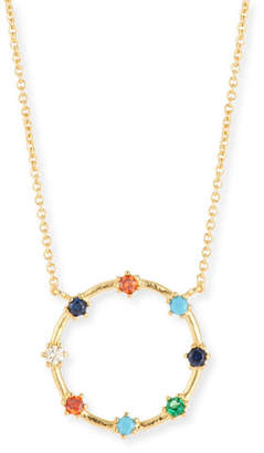 Tai Rainbow Crystal Open-Circle Necklace