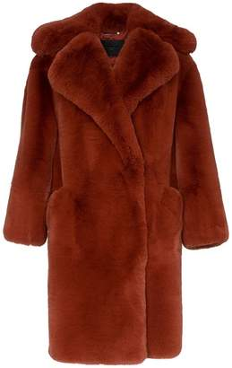 Givenchy single breasted oversized faux fur coat