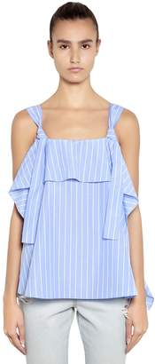 Sjyp Striped Ruffled Top