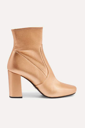 Prada Metallic Textured-leather Ankle Boots - Gold