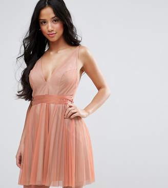 Asos Deep Plunge Cami Mesh Pleated Mini Dress