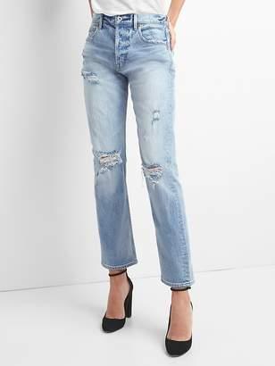 Gap Cone Denim® Super High Rise Straight Jeans with Destruction