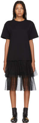 RED Valentino Black Layered Hem T-Shirt Dress