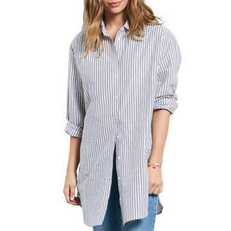 Blue/White Striped Lurex Boyfriend Shirt