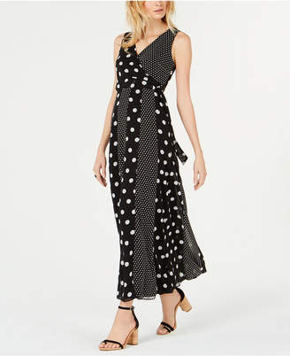 INC International Concepts I.n.c. Petite Multi-Dot Sleeveless Maxi Wrap Dress