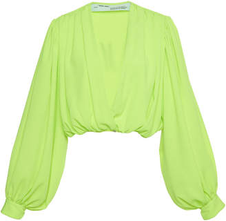 Off-White Off White C/O Virgil Abloh Cropped Neon Crepe Blouse