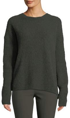 Vince Side-Slit Wool Crewneck Pullover Sweater